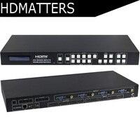 HDmatters AV VGA HDMI матричный 4X4 Бесшовные HDMI переключатель сплиттер с HDMI/VGA/AV смешанные входы HDCP 1,4, 4 К X 2 К, PIP/POP