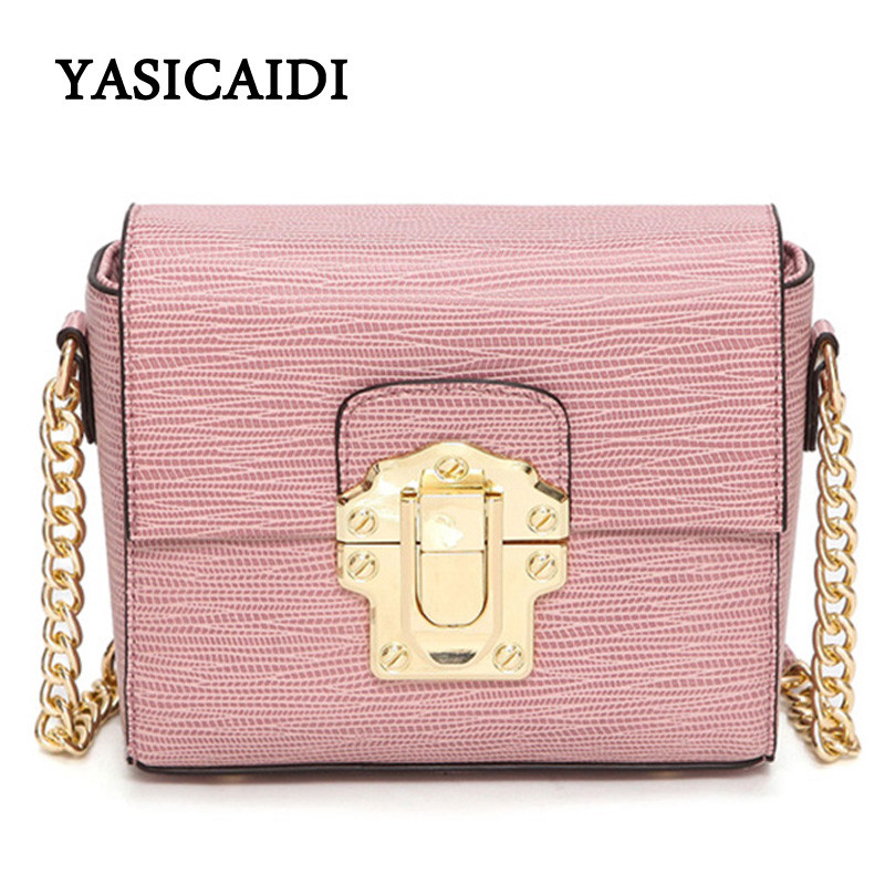 2017 Designer Women Chain Messenger Bags Lizard Pu Leather Lock Women Bag Gold Chain Small Black Mini Crossbody Bags 2017 fashion all match retro split leather women bag top grade small shoulder bags multilayer mini chain women messenger bags