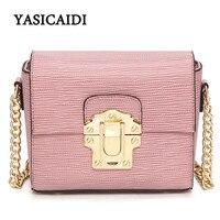 2017 Designer Women Chain Messenger Bags Lizard Pu Leather Lock Women Bag Gold Chain Small