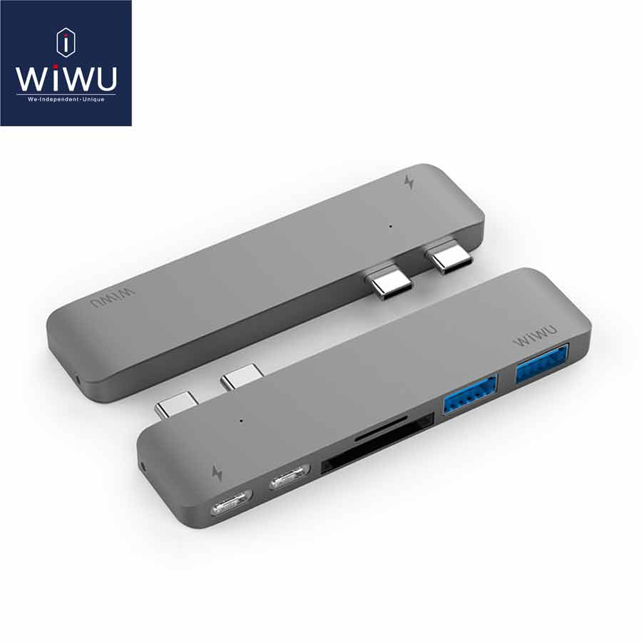 WIWU Dual Type C USB 3.0 Hub with Power Adapter for MacBook Pro USB C Multinational USB 3.0 Hub for MacBook Air Charging Hub 3.0 type c usb3 0 hub with usb c charging port for macbook
