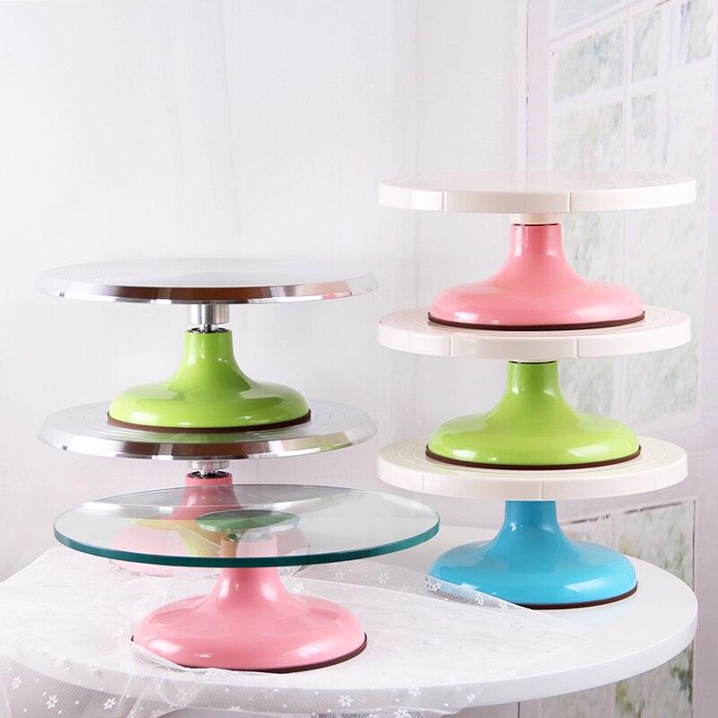 Montage en verre du cadre de gâteau de lit de fleur en plastique anti-dérapant rotatif disque cuisson outil tuyauterie costume