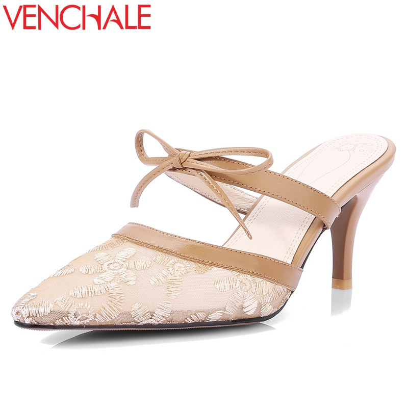 VENCHALE 2018 summer new slippers super high thin heel lace embroider slides outside elegant leisure butterfly-kno mules shoes