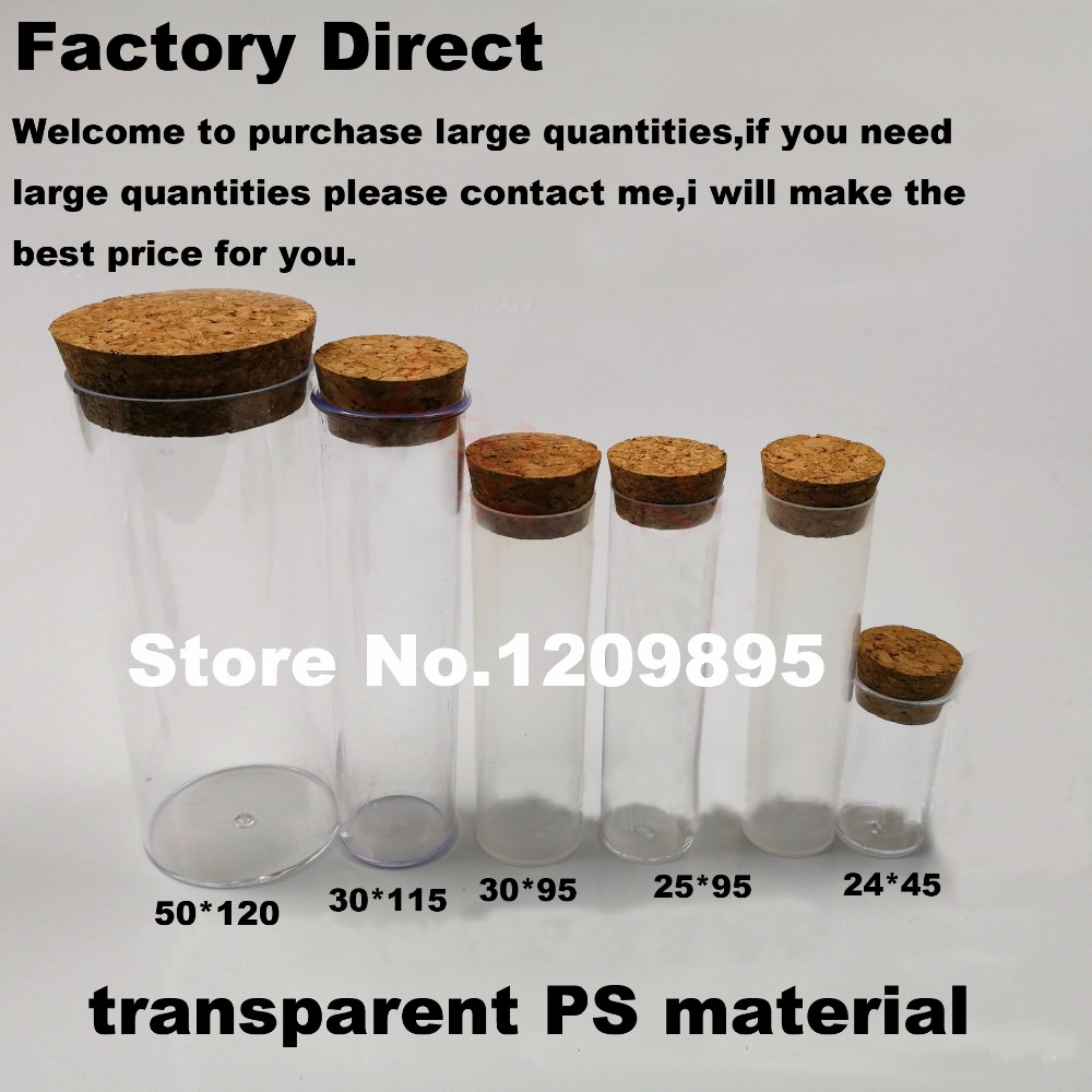 High Quality 30*95mm Flat Bottom Plastic Tubes With Cork Transparent Hard PS Sample Cup Packing Tubes Free Shipping