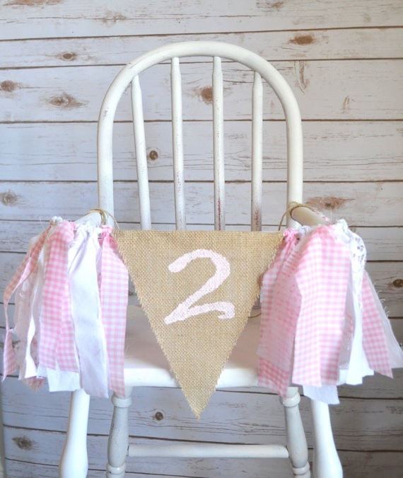 Pink Princess Second Birthday Party Highchair Bunting Painted 2 Burlap Flag Baby Room Garland Girl Two Birthday Party Decoration