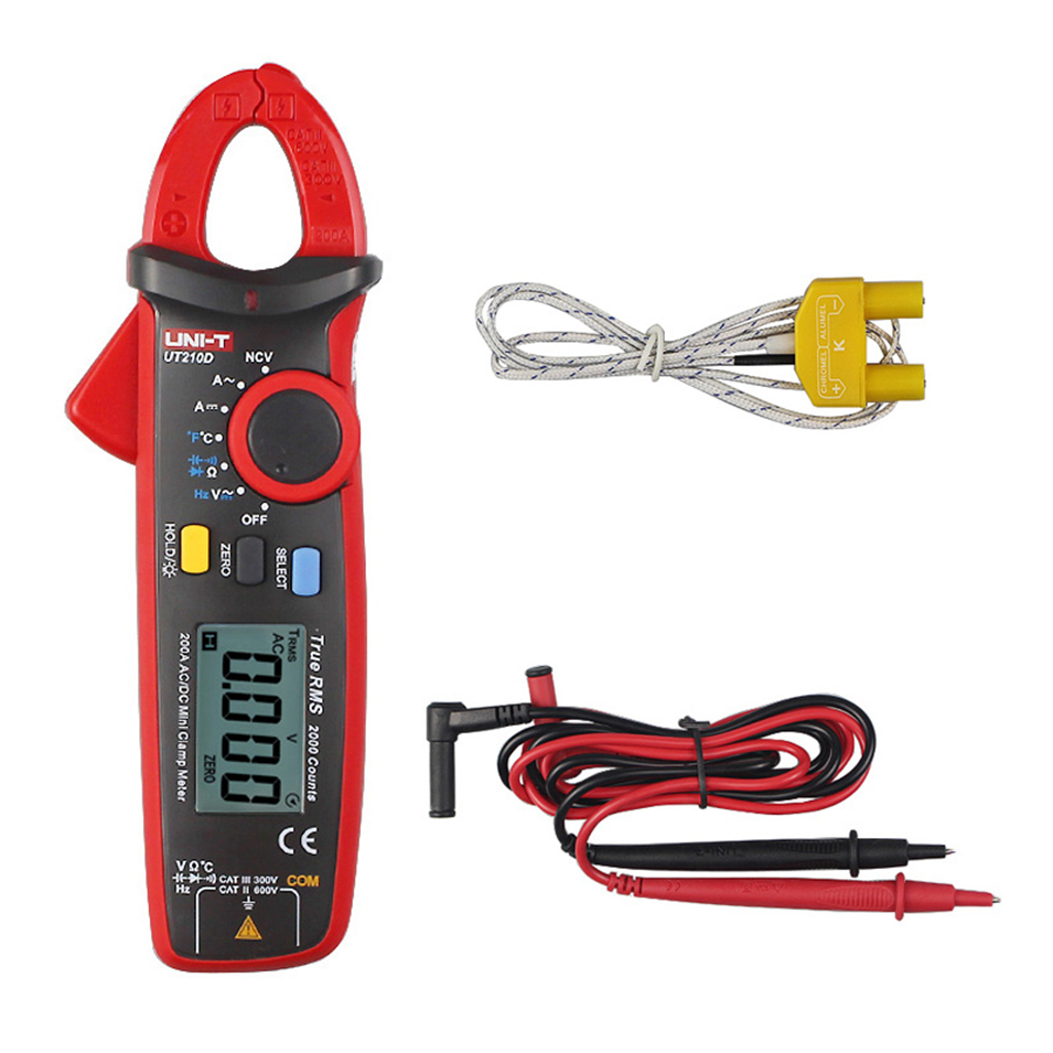 UNI-T UT210D Digital Clamp Meter Multimeter AC/DC Current Voltage Resistance CapacitanceTemperature Measurement Auto Range uni t ut210d digital clamp meter ac dc current voltage meter true rms mini auto range multimetro digital multimeter