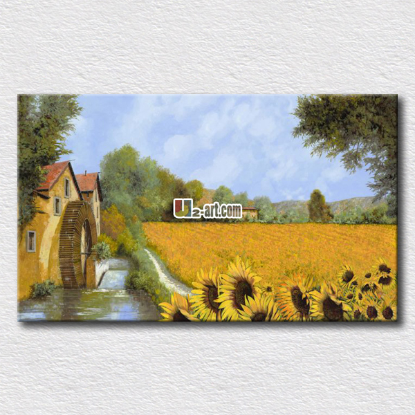 Rural fields and wild flowers canvas prints pictures on the living room arts work for friends gift