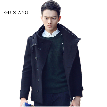 2017 New Arrival Style men woolen overcoat fashion casual silmsolid double breasted men's thick woolen trench coat M-2XL