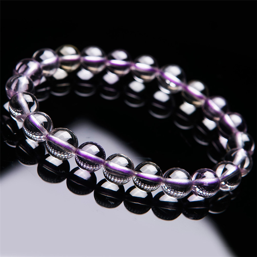 8.5mm Genuine Natural Purple Kunzite Crystal Transparent Round Bead Bracelet Women Lady Charm Stretch Bracelet Just One 7mm transparent round crystal bead bracelet for women genuine natural kunzite gems stone charm stretch bracelet femme just one