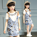 2016 autumn children's clothes girls sets cartoon denim strap dress+t-shirt girl suits for girls kids outfits with shoulder bag
