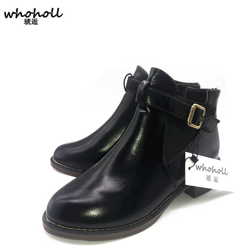 Whoholl Woman Buckle Strap Leather Motorcycle Ankle Boots Female Lace Up Low Heels Platform Comfortable Spring Autumn Shoes wetkiss genuine leather cool motorcycle boots women street buckle strap rivets zip female boots low heels autumn winter boots