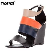 Rome Shoes Women Waterproof Wedges Sandals High Heel Sandals Mix Color Buckle Brand Fretwork Sandals Footwear Size 35-46 B032