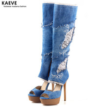 Sexy Blue Denim Lace Knee High Boots Women Platform Wedge Heeled Open Toe Lace Decor Long Boot Cowboy High Heel Booty R1 Size 43 цены онлайн