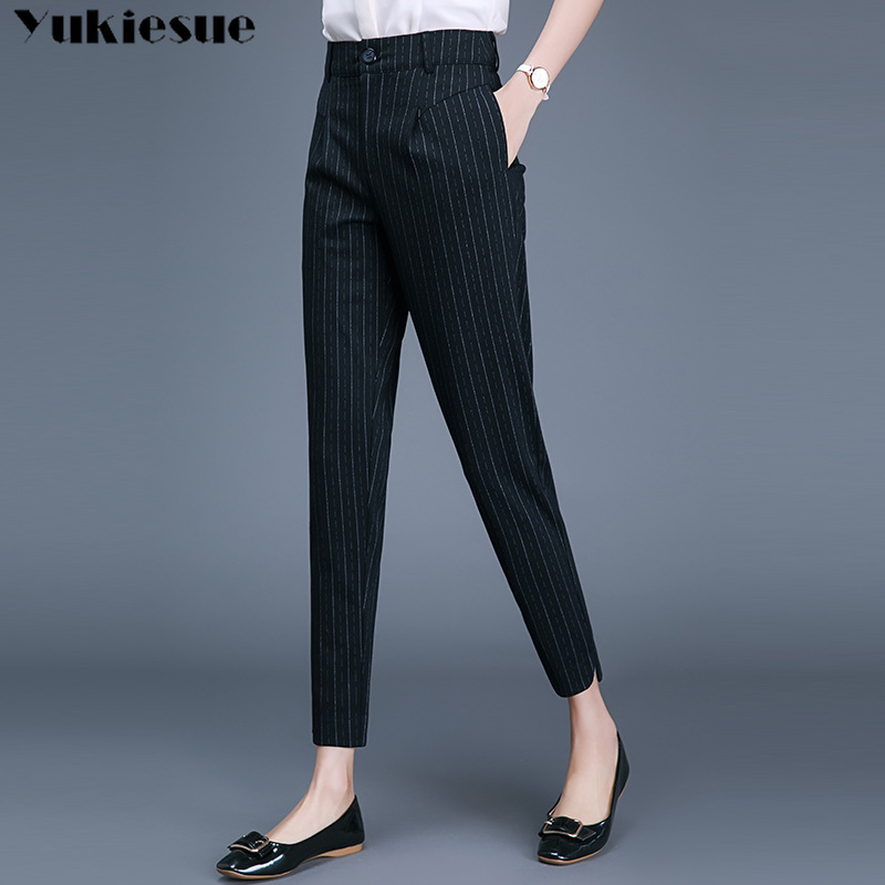 streetwear summer 2019 striped women's   pants   female high waist office work harem   pants     capris   for women trousers woman Plus size