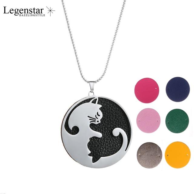 Legenstar カップルジュエリーネックレスステンレス鋼交換革猫ペンダントネックレス声明コリアー