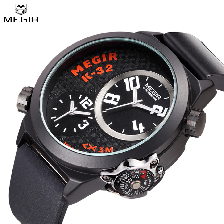 MEGIR New Style Men Luxury Military Waterproof Multiple Time Zone Multifunction Quartz Wristwatches