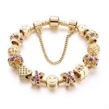 Dropshipping 2018 Fashion Jewelry Crystal Heart Beads Bracelet Gold European Diy Charm