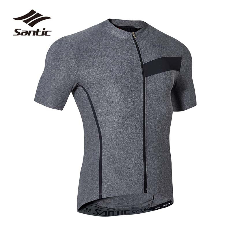 Santic Short Sleeve Cycling Jersey Men 2018 Summer Bicycle MTB Jersey Gray Road Mountain Bike Jersey Breathable Riding Shirt santic women cycling jersey summer short sleeve mtb downhill jersey breathable mountain bike bicycle jersey ropa ciclismo