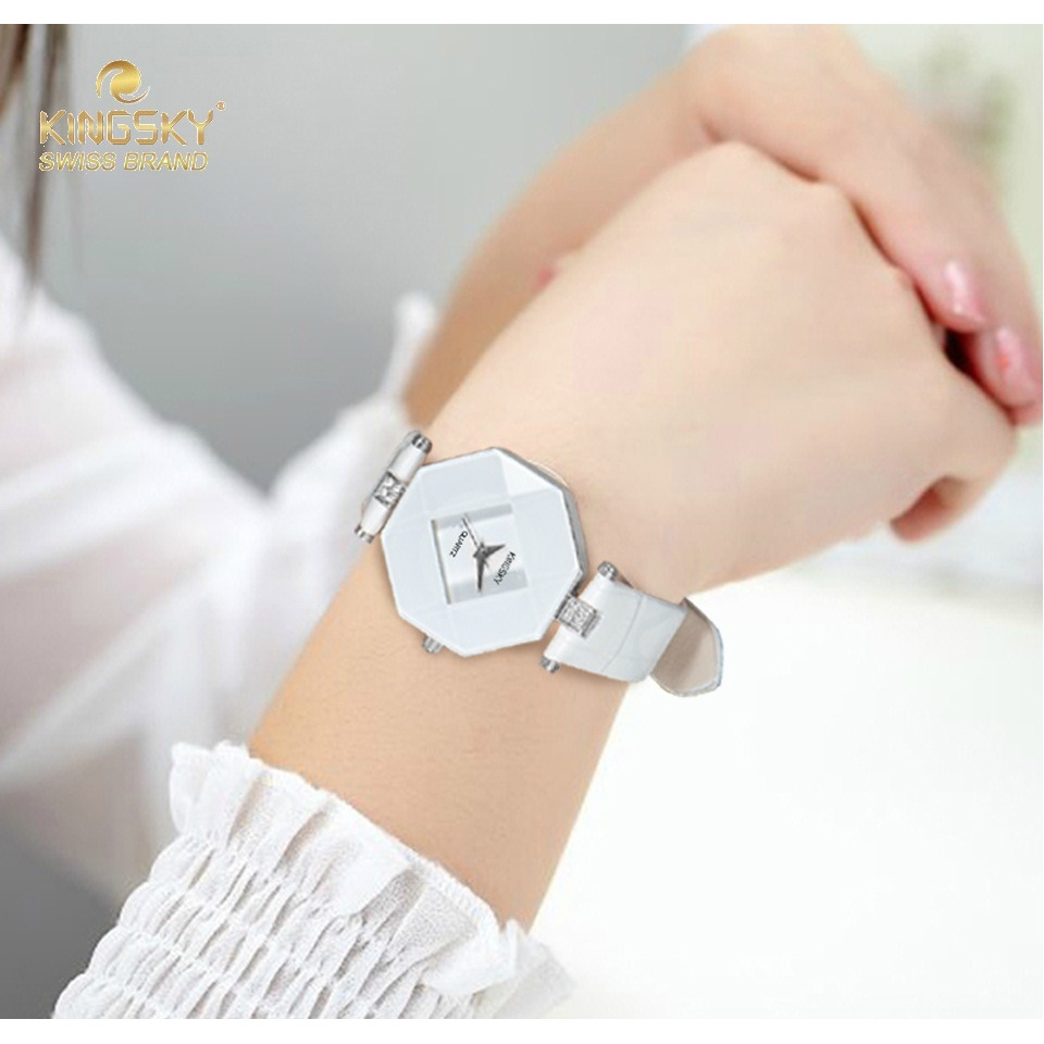 Prix pour Kingsky Marque En Cuir Montre-Bracelet de Dames Montres Pour Femmes 2016 Fahion Quartz Horloge Sur La Main A1268