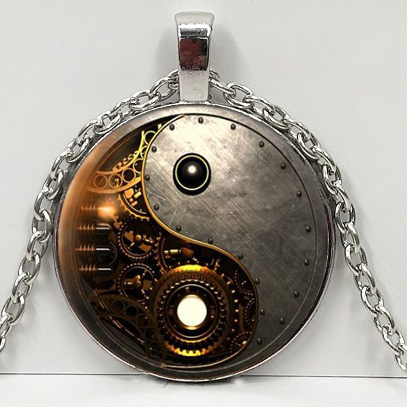 2019 New Steampunk Ying Yang Photo Tibet Silver Cabochon Glass Pendant Chain Necklace