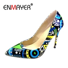 Enmayer Size32-45 Women Pumps 2018 Hot Leather Sexy Pointed Toe Ladies High Heel Shoes Wedding Court Floral Footwear CR606