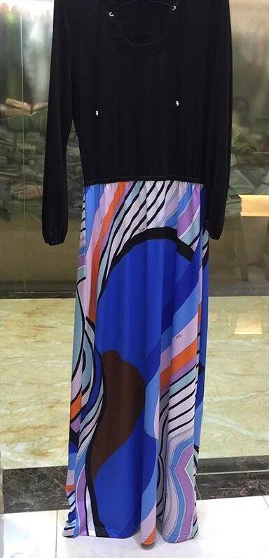 Kadın Giyim'ten Elbiseler'de Yeni 2017 Moda Streç Jersey Ipek Elbise kadın Uzun Kollu Geometrik Baskı Maxi uzun elbise Artı Boyutu XXL rahat elbise'da  Grup 2