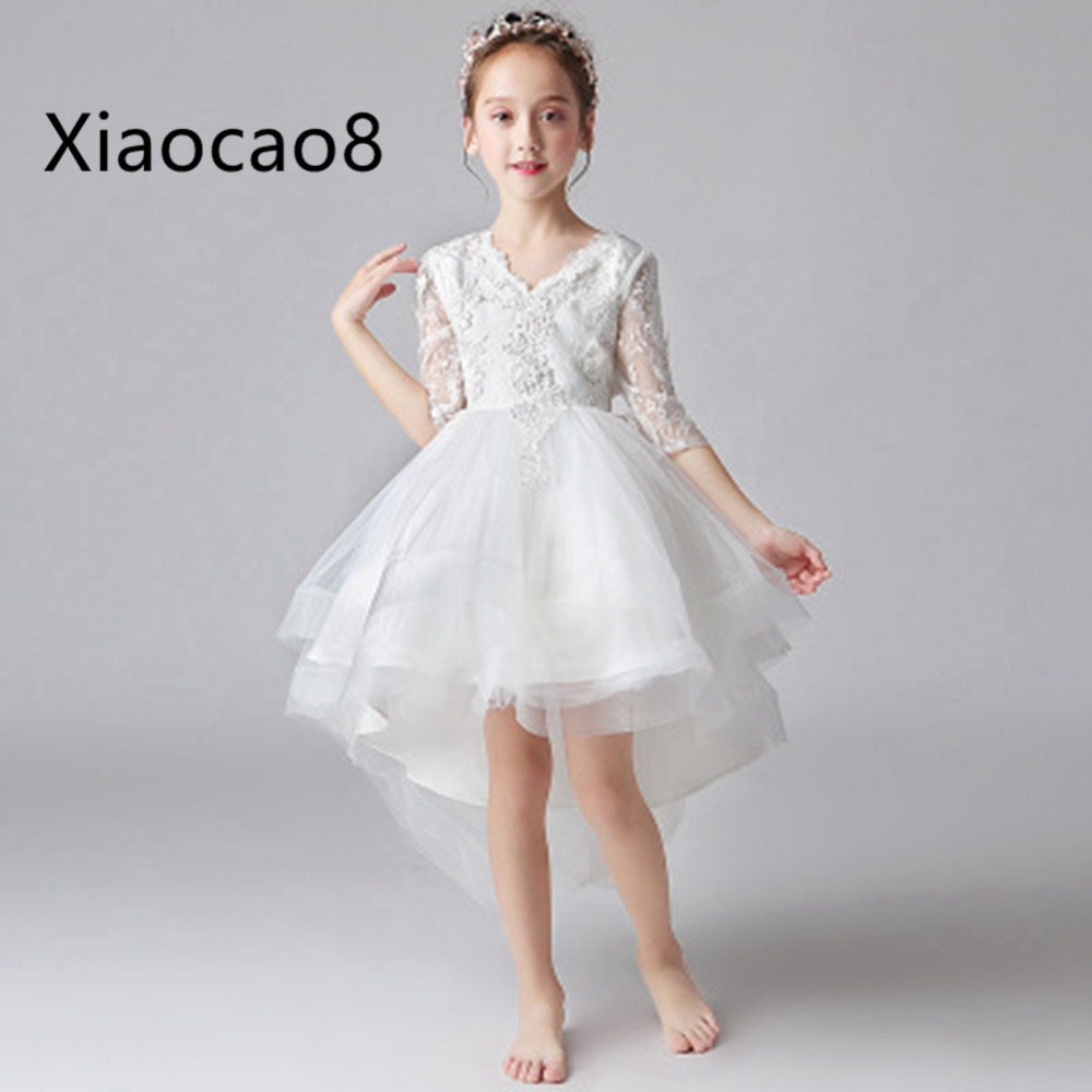 New Fashion Girls Dress White Princess Dresses Kids Trailing Dress for Party and Wedding Children Ball Gown Girl Summer Dress