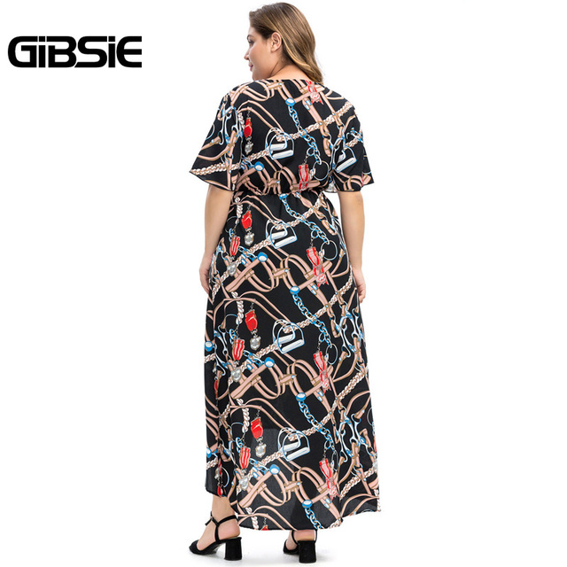 GIBSIE Plus Size Chain Print V-Neck Bow Front Cut Out Women Maxi Dresses 6XL 5XL 4XL Summer Beach Casual High Waist Dress 2