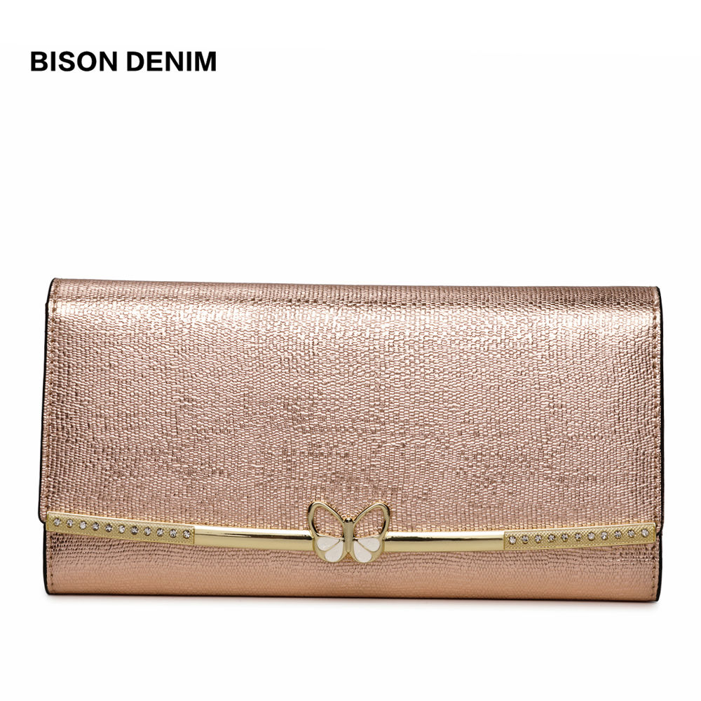 BISON DENIM Genuine Leather Purse Female Luxry Brand Women Wallets Long Zipper Long Clutch Card Holder Coin Purse N3272 contacts 2018 new brand design genuine leather woman wallets cell phone card holder female purse clutch women purse with zipper