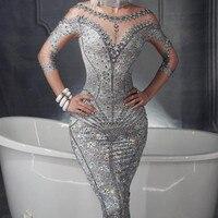 Female Sexy Fake Flesh Floor length Dress Singers Manual Diamond Outfit Long Sleeve Dress Performances Wear DJ DS JAZZ Sexy Show