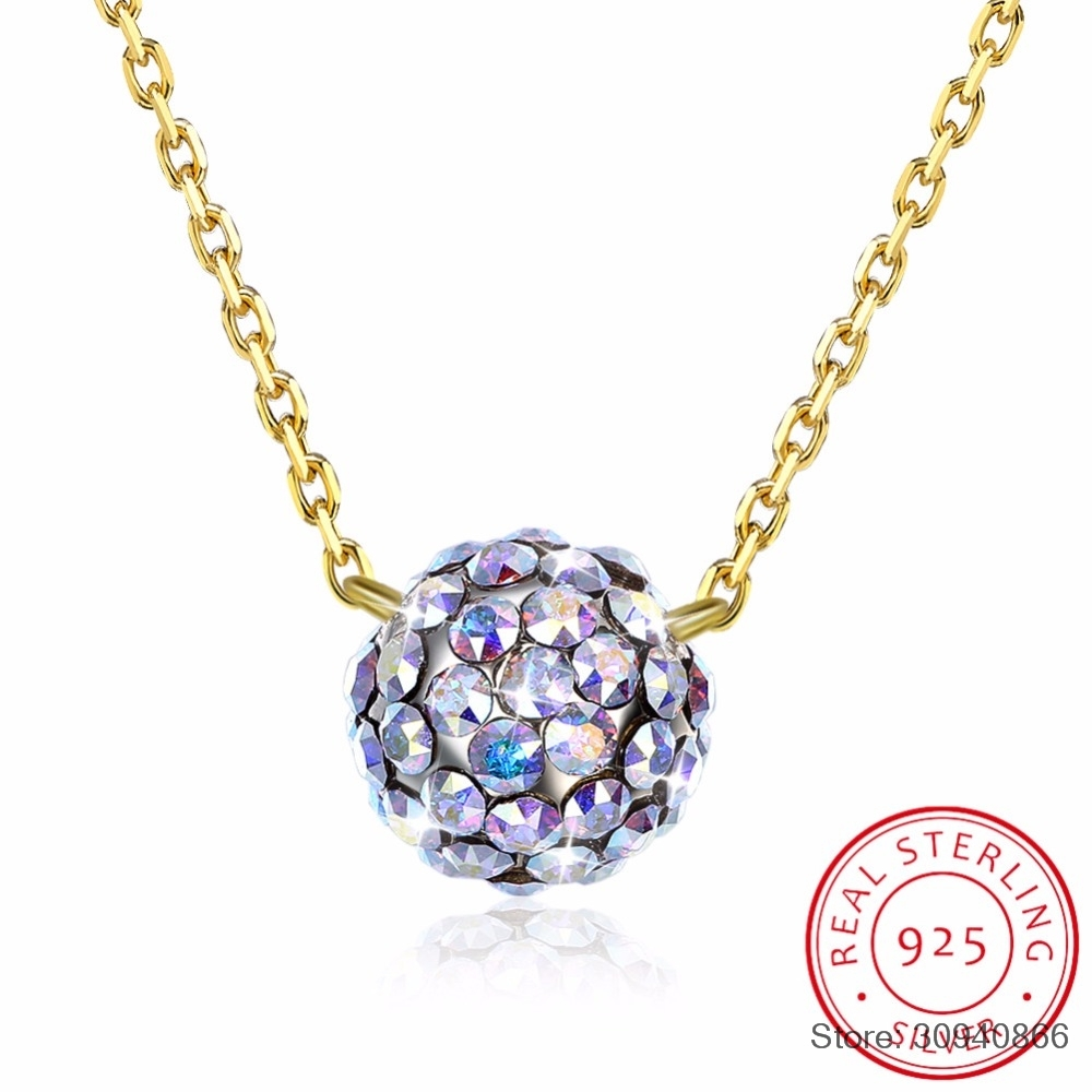 SMTCAT Colorful Ball Pendant Necklaces Crystals From 925 Sterling Silver Beads Collars Fine Jewelry For Women Girls