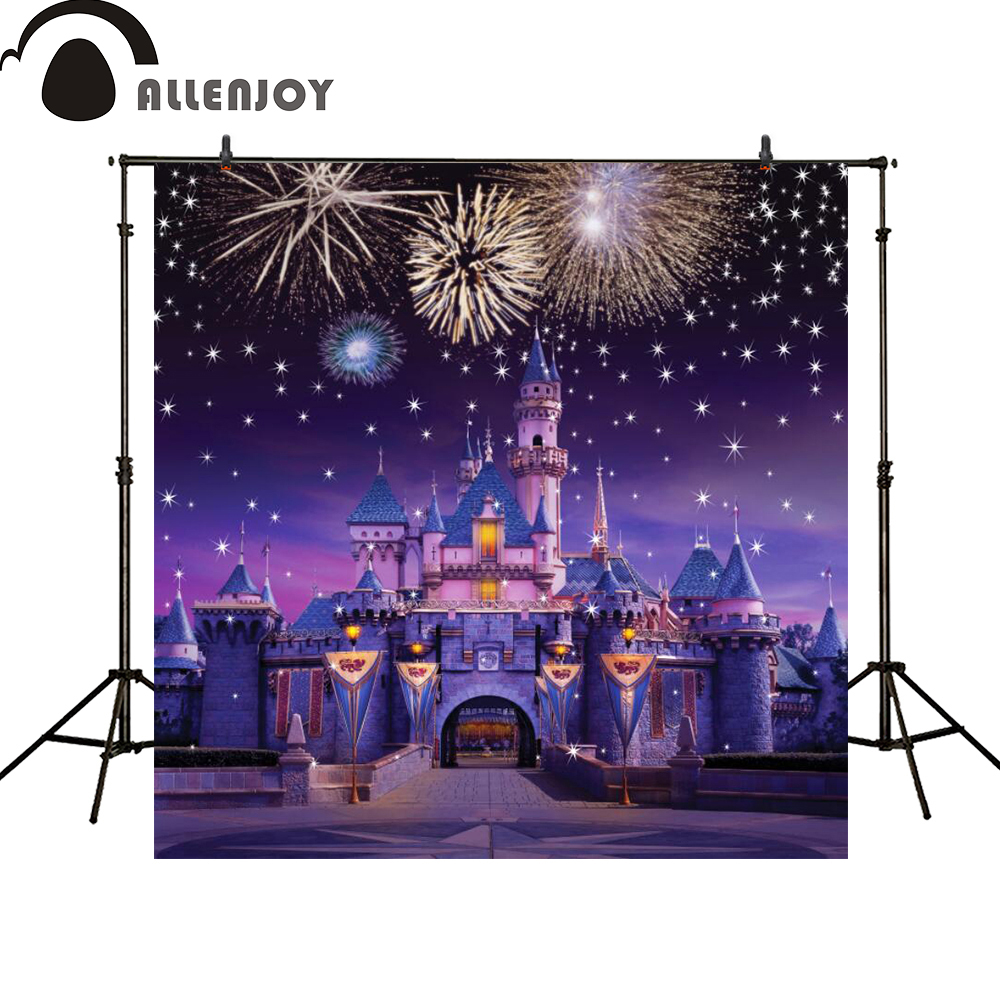 Allenjoy photography backdrops Castle night Fireworks Beautiful Magical Princess Birthday party banner photo booth