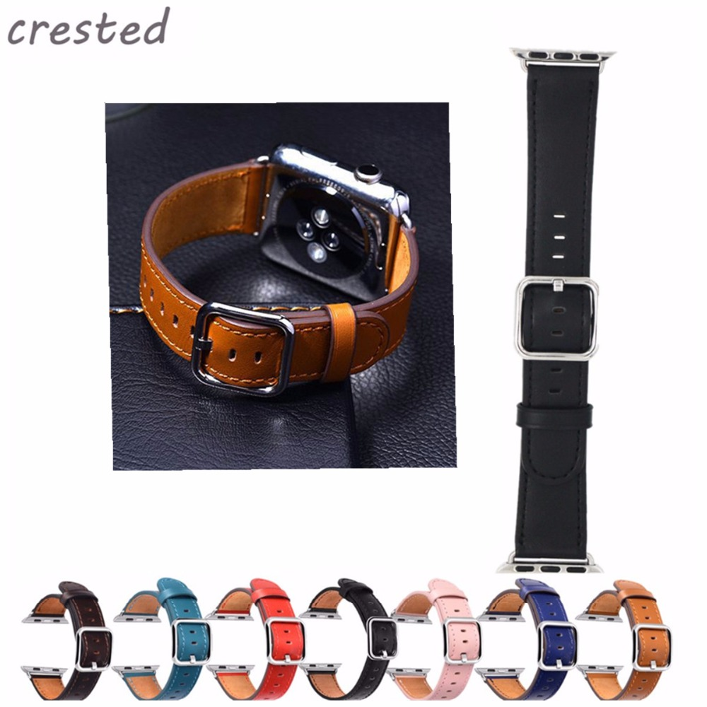 CRESTED leather strap for apple watch band 42 mm 38 Classic Buckle belt crazy horse leather