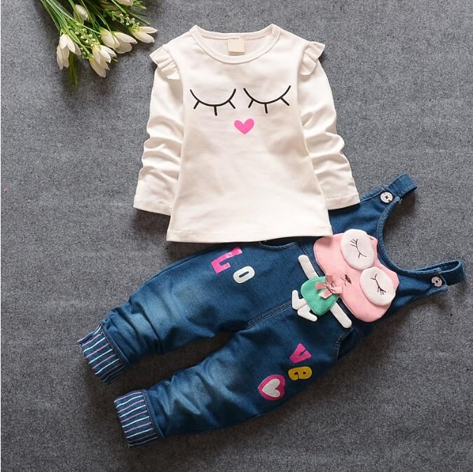100% Cotton Baby Girl Clothes Spring Autumn Children Kids Girls Clothing Set T-shirt + Denim Jeans Suspender Pants for 1-4 years