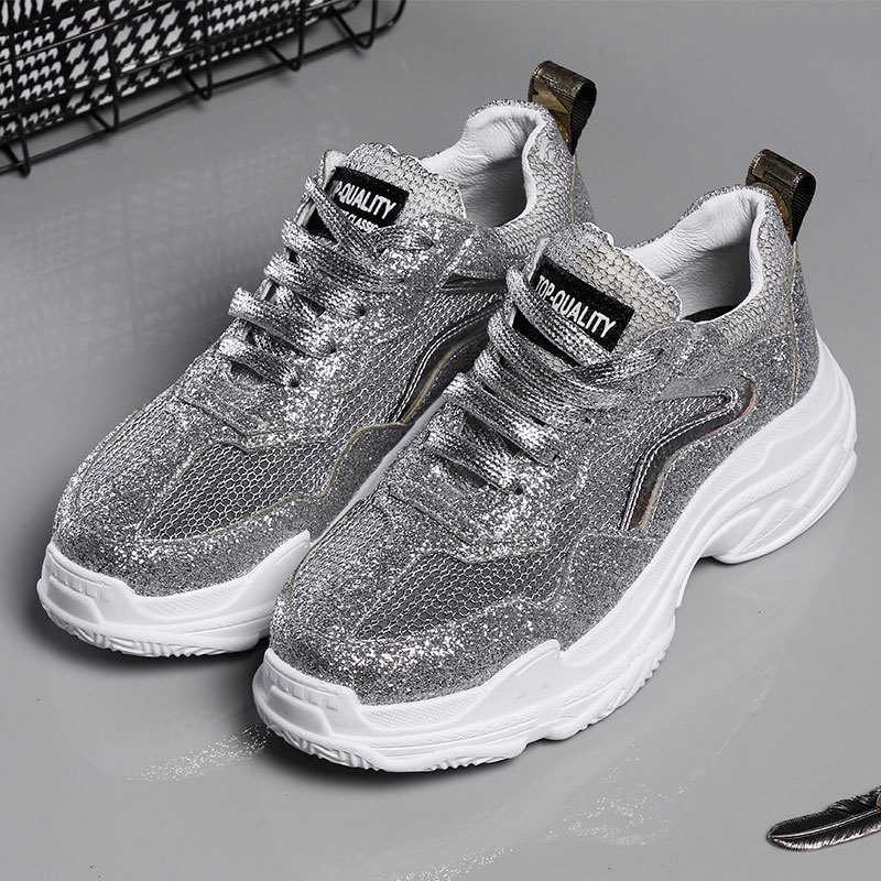 Jookrrix 2018 Autumn Fashion Brand Mesh Lady Silver Shoe Women Golden Platform Shoe Girl Leisure Sneaker Breathable All Match