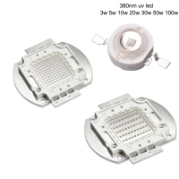 High Power LED Chip UV LED 380nm Lamp 3W 5W 10W 20W 30W 50W 100W Ultraviolet