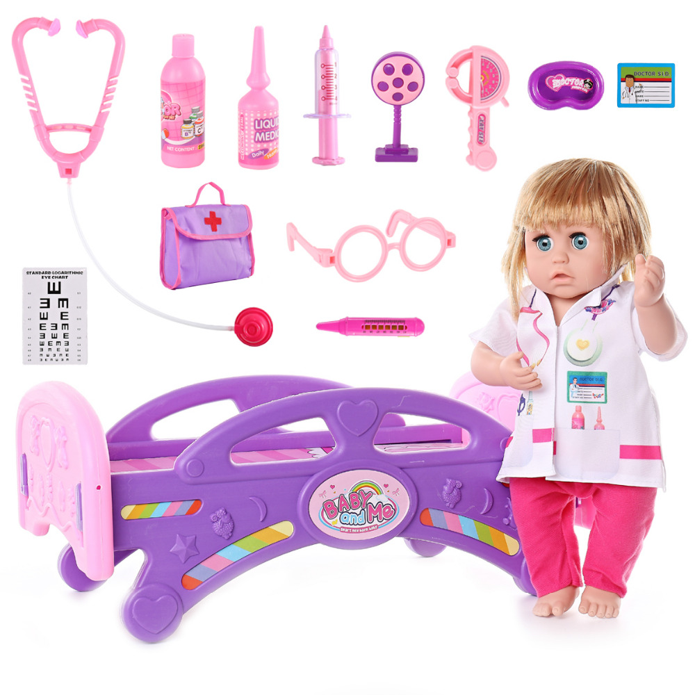 REikirc Kids Toys Doctor Set Baby Suitcases Medical kit Cosplay Nurse Simulation Medicine Box Doll Costume Stethoscope Gift 38cm health care professional medical double headed stethoscope doctor use stethoscope