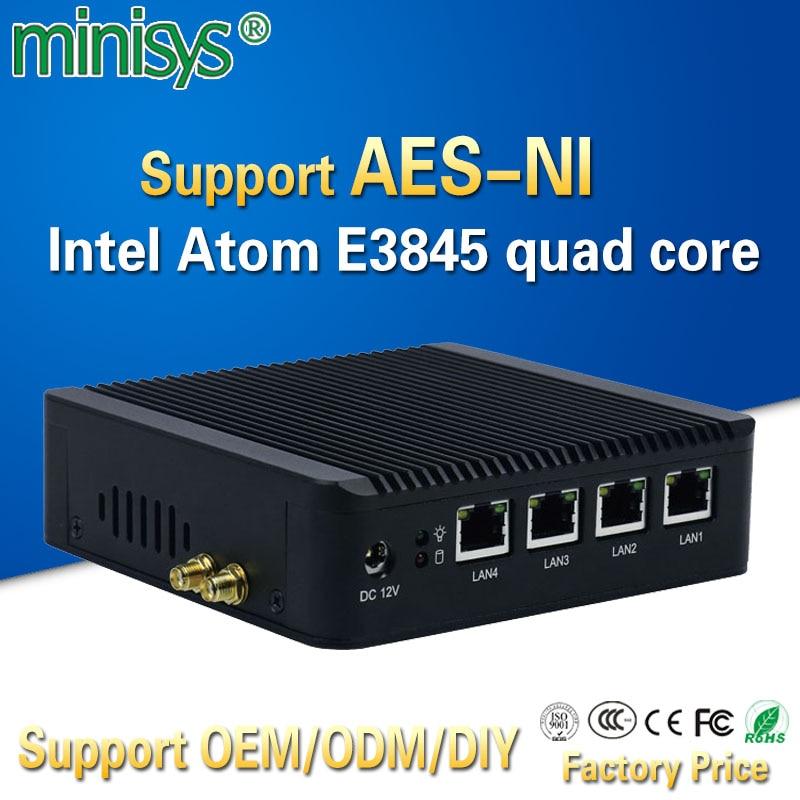 Minisys 4 Lan pfsense minipc Intel atom E3845 quad core mini itx carte mère pare-feu linux ordinateur machine hôte soutien AES-NI