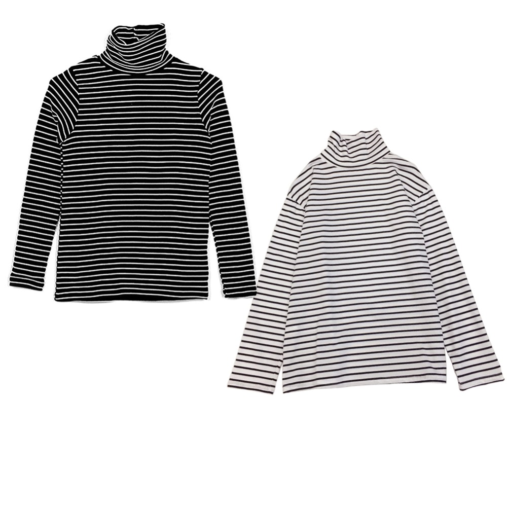 Autumn Winter Korean Version T Shirts Men And Women  Lovers Sisters Bottoming Shirts Black And White Striped Loose Thin T 2xl