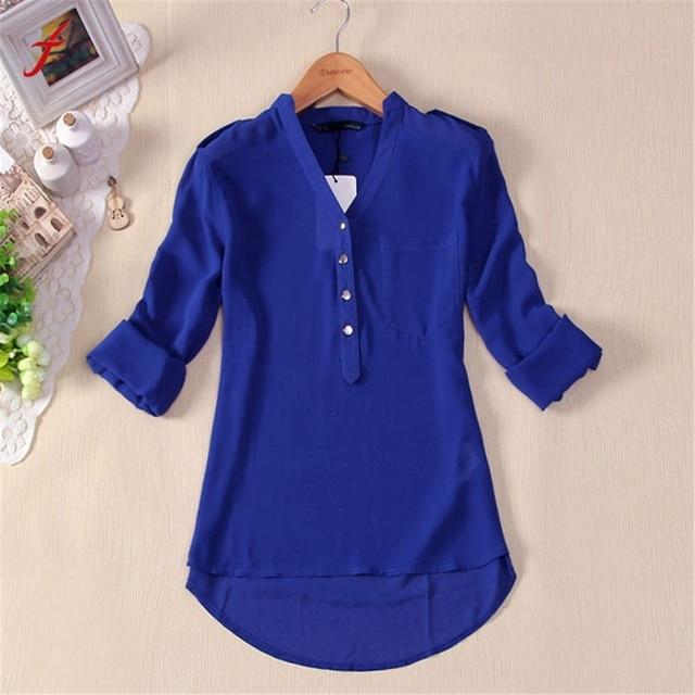 5333d3650b Nueva gasa mujeres blusa Camisas Blusas Femininas 2014 manga larga Sheer  verano blanco azul Blusas camisa