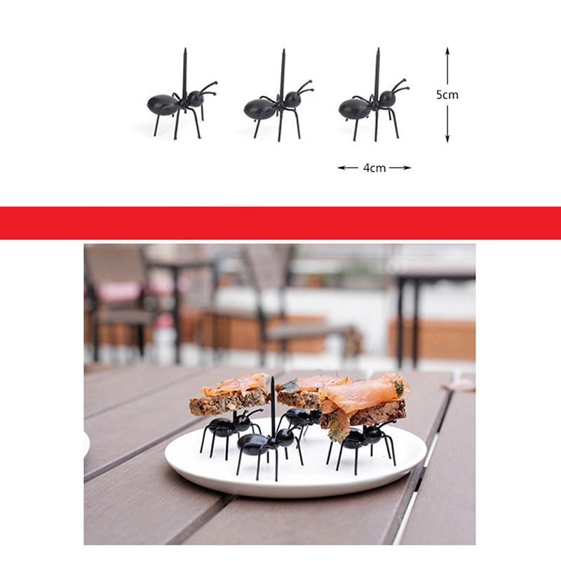 12pcs/set Cute Mini Ant Fruit Fork Eco Friendly Plastic Easy Decoration Kitchen Bar Kids Dessert Forks Tableware