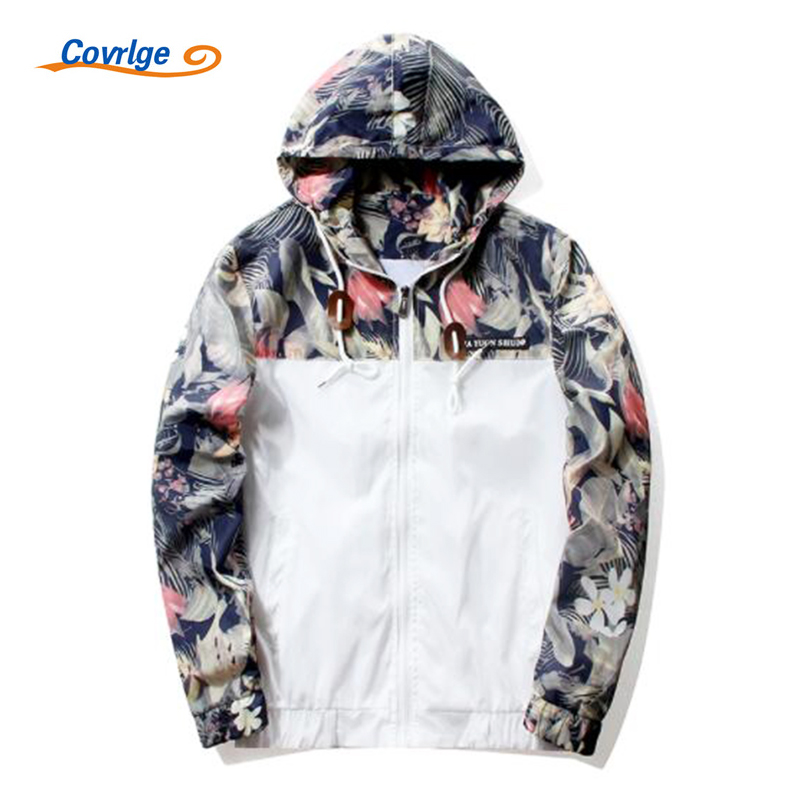 Covrlge Mens Print Hooded Jackets 2017 New Spring Autumn Thin Jacket Coat Brand-clothing Male Casual Outwear Fashion Top MWJ052