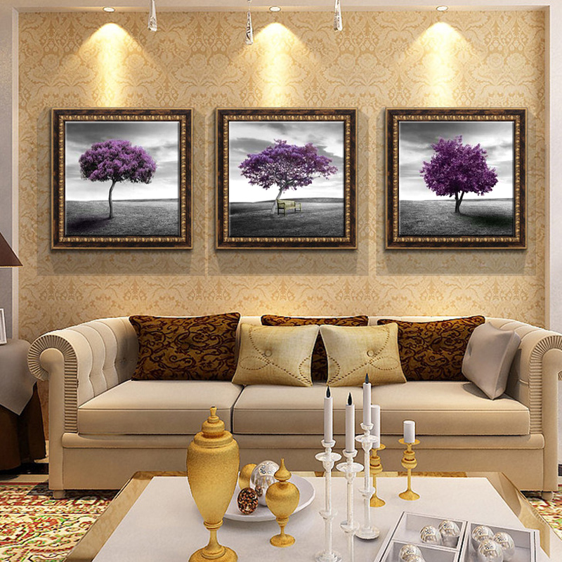 Awesome Large Living Room Art Part - 12: Aliexpress.com : Buy 3 Piece Free Shipping Modern Wall Art Home Decoration  Purple Tree Large Living Room Oil Painting Pictures On Canvas Prints From  ...