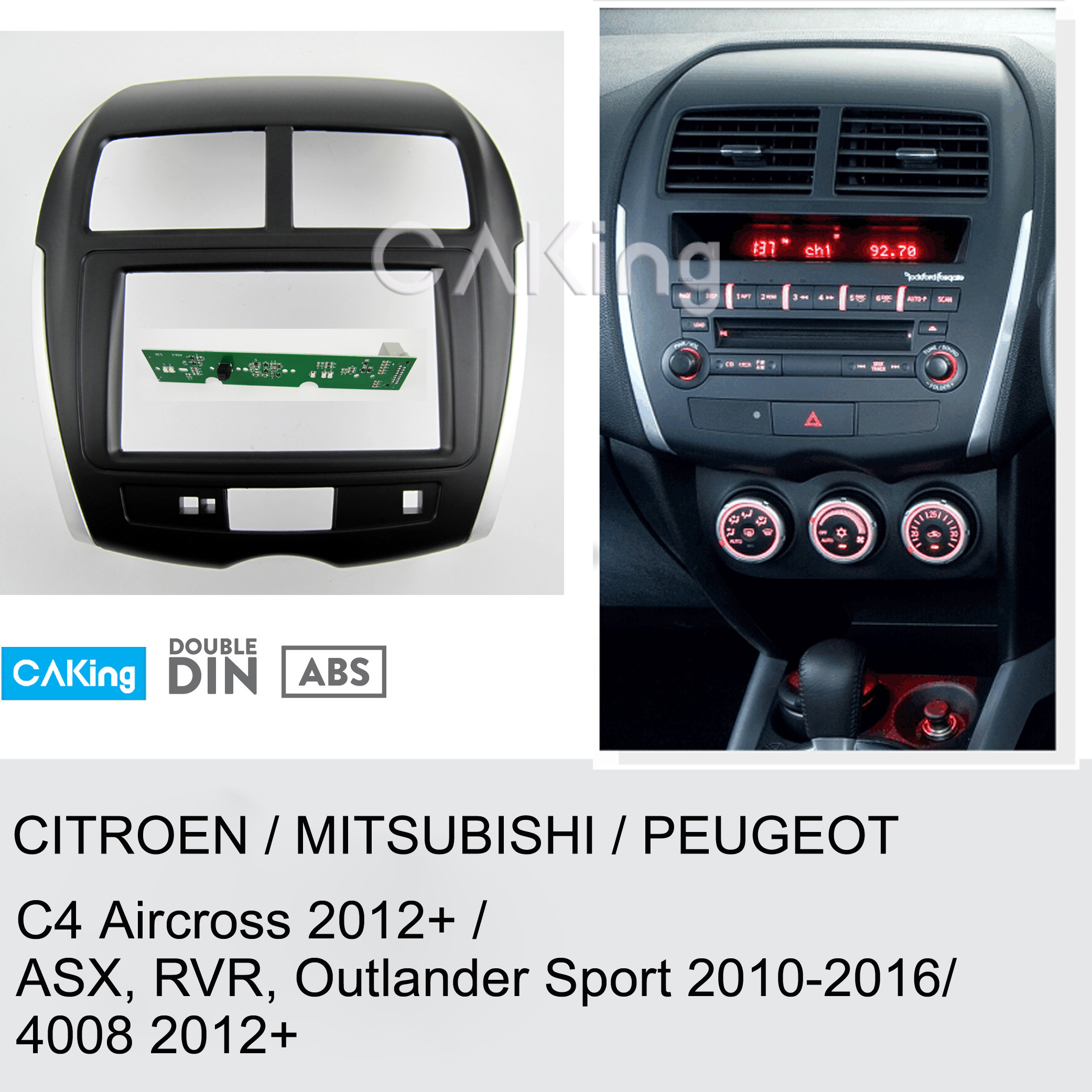 Car Fascia Radio Panel for MITSUBISHI ASX RVR Outlander Sport 2010 2016 Dash Kit Install Facia