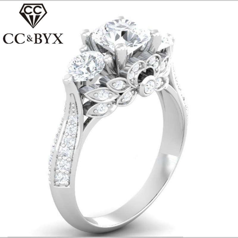 CC Hyperbole Silver Rings For Women Palace Vintage Flowers Bridal Wedding Luxury Jewelry Engagement Ringen Anillos Mujer CC745