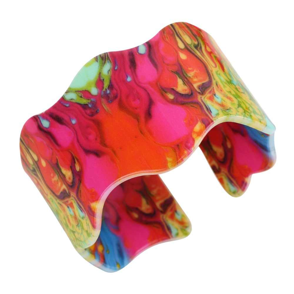 Weveniオリジナル広い愛カラフルな炎マグマ印刷ブレスレット腕輪ファッションアクリルジュエリー用女性新しいaccesssories