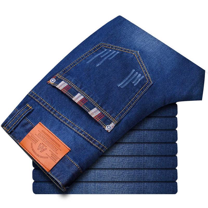 2019 夏新メンズジーンズ洗浄ストレートステッチ格子ストレッチジーンズプラスサイズ 28-38 カジュアル高品質ジーンズ男性