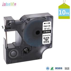 10 Pack 18055 Black on White 12mm for DYMO Rhino IND Heat Shrink Tubes LabelWriters PRO1000 Rhino3000 Rhino4200 Rhino5000(China)