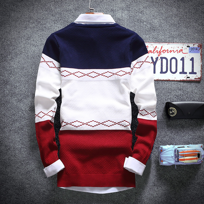 2017 Spring /Fall Mens Pullovers Sweaters, Fashion Sweaters Men . Trendy Big Striped Thin Youth Boy Sweater