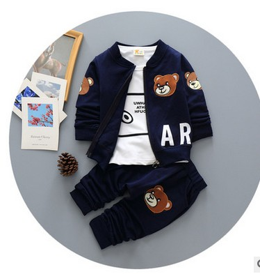 Children's wear children spring autumn three-piece suit boy sport suit jacket and trousers