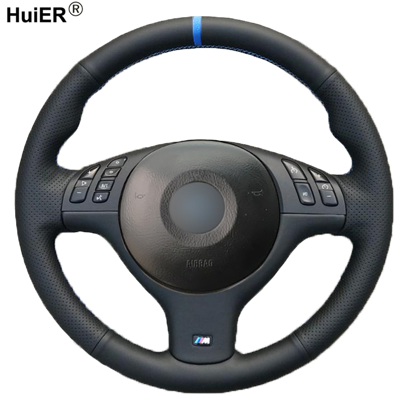 HuiER Hand Sewing Car Steering Wheel Cover For BMW E46 E39 330i 540i 525i 530i 330Ci M3 2001 - 2003 Braid On The Steering-Wheel